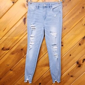 Distressed Hi-Rise Jegging American Eagle size 10